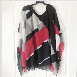 Lane Bryant Multicolor Semi Sheer Kimono Tunic Top